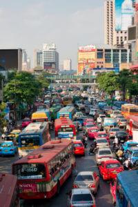 Taxi's en Bus in Bangkok